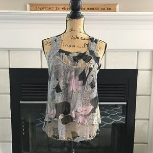 Tops - Floral sheer blouse.
